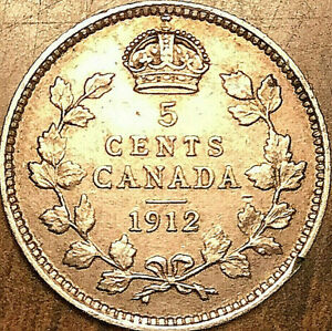 1912-CANADA-SILVER-5-CENTS-COIN-Fantastic-example