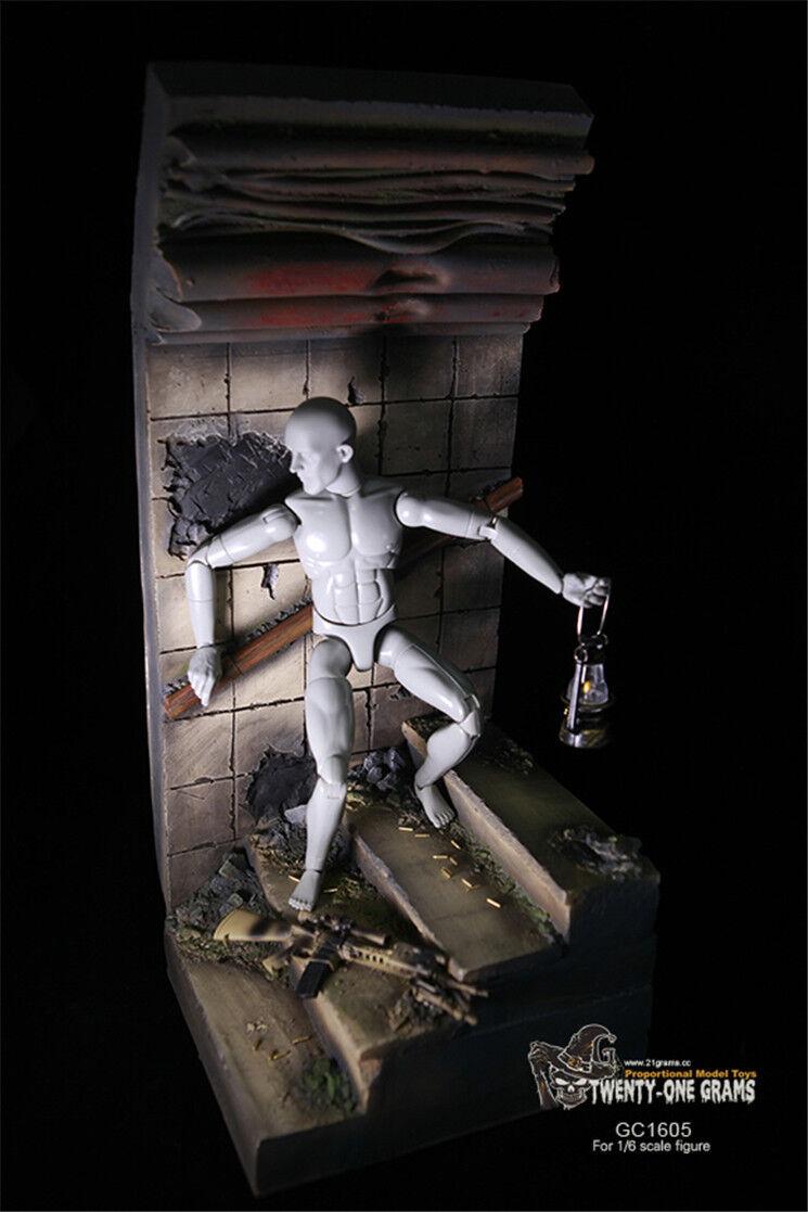 Twenty-one Grams Diorama WWII / Modern Scene Tunnel Rubble 1/6