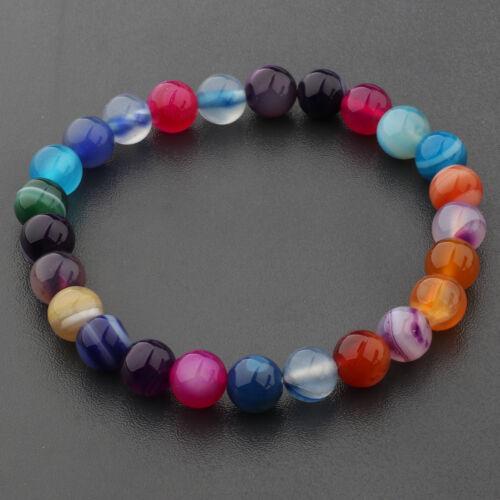 "8mm Unisex Mens Womens Spot Fashion Round Gemstone Beads Stretchable Bracelet 7/"""