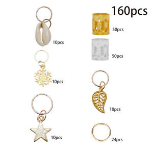 50x Gold Shell Snowflake Pendant Rings Hair Clip Accessories for Braid Jewelry D