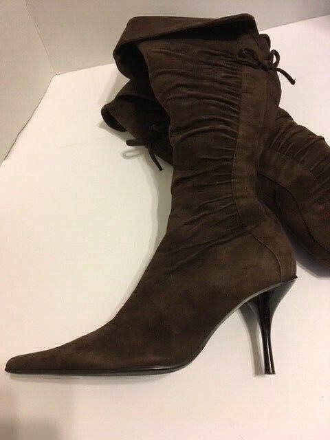Fermani Fermani Fermani Women's Brown Suede Knee High Cinched Ruched Boots High Heel sz 5 EUC 35 61e8d9