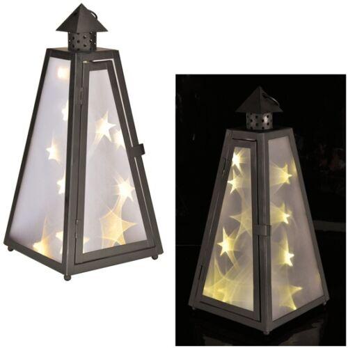 mit 12 warm-weißen LEDs Lantern Laterne mit Holografie-Folie Sternlichteffekt