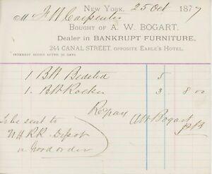 1877-A-W-Bogart-Billhead-Letterhead-New-York-NY-Bankrupt-Furniture-Dealer
