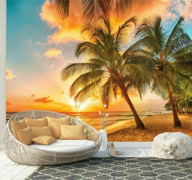 Tropical Scenery Beach Palm Tree 3D Full Wall Mural Photo Wallpaper Home Dec Kid
