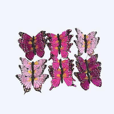 Butterfly on Wire Set 7cm Fuchsia Tones x 18 Wedding Decoration