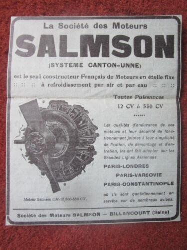 1926-27 PUB MOTEURS SALMSON CANTON-UNNE MOTEUR AVIATION CM 18 ENGINE ORIGINAL AD