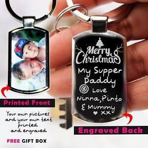 Personalised-Photo-Printed-Engraved-Keyring-Keychain-Xmas-Gift-Free-Gift-Box