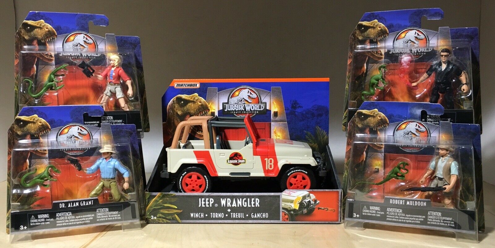 JURASSIC PARK WORLD LEGACY COLLECTION SET MALCOM SATTLER MULDOON GRANT JEEP NEW