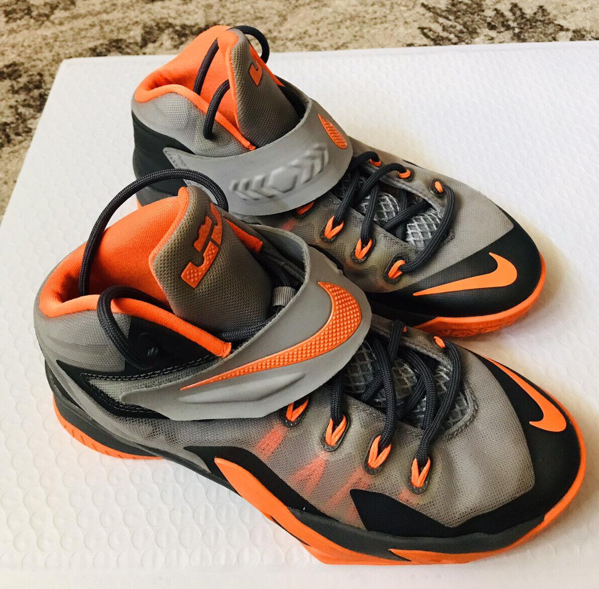 Nike LeBron James Boys Basketball Shoes 4.5Y Grey And Orange 653645 on eBay thumbnail