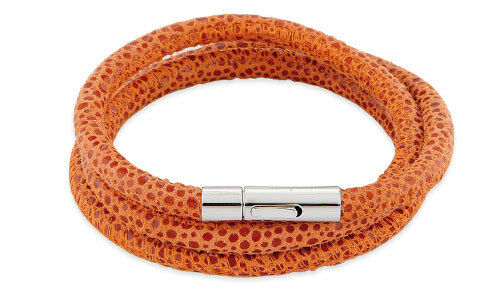 """Farbe: Orange Leder-Armband /""""Viper/"""" 57 cm Edelstahlverschluß Alraune"""