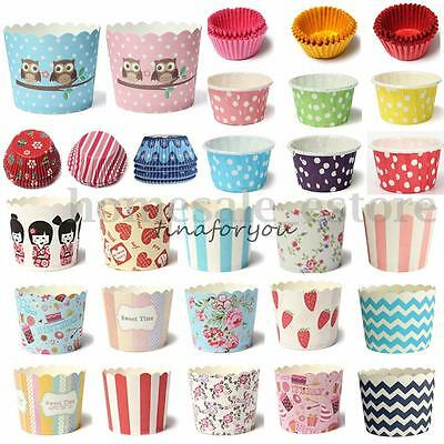 Chirstmas 50Pcs Tulips Liner Paper Cupcake Home Party Cake Baking Paper Xmas Cup