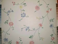 White Wallpaper with Multi-Color Pink Blue and Yellow Flowers   999-1330