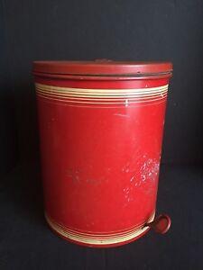 Image Is Loading Vintage Red Mid Century Waste Basket Bathroom Trash