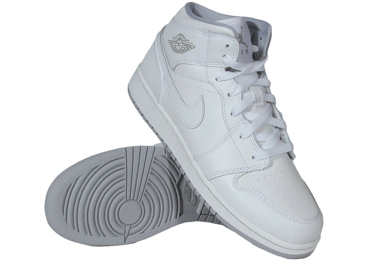 Air Jordan 1 Mid Men's Basketball Leather Shoes White Wolf Grey 554724-112 Comfortable and good-looking