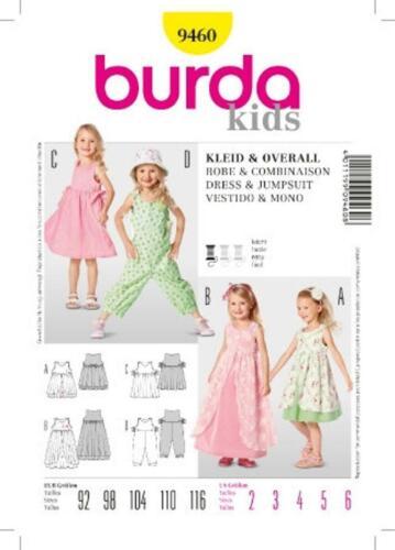 92-116 Schnittmuster burda kids 9460 Kleid /& Overall Gr