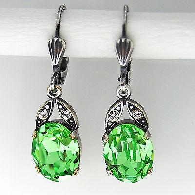 Grevenkämper Ohrringe Swarovski Kristall Silber Oval klein 10 mm grün Peridot