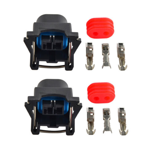 2 set Release Fit Bosch 2 Pin EV1 Fuel Injector Connector Plug Kit Fits For Ford