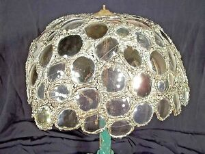 VINTAGE-MID-CENTURY-BRUTALIST-STEAMPUNK-EYEGLASS-LENS-LEADED-LAMP-SHADE