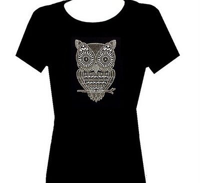 NEW RHINESTONE (OWL)  T SHIRT TOP BLACK SIZE:S,M,L,XL,1XL,2XL,3XL FREE SHIPPING