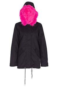 NEW-Womens-Oversized-Hood-Pink-Fur-Parka-Coat-Ladies-Jacket