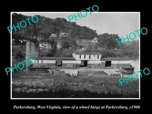 OLD-LARGE-HISTORIC-PHOTO-OF-PARKERSBURG-WEST-VIRGINIA-THE-BRIDGE-amp-BARGE-c1900