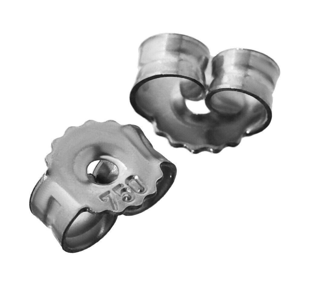 3 pair  18K 750 White gold mating stud earrings ear stopper hole 0.9mm ear nut