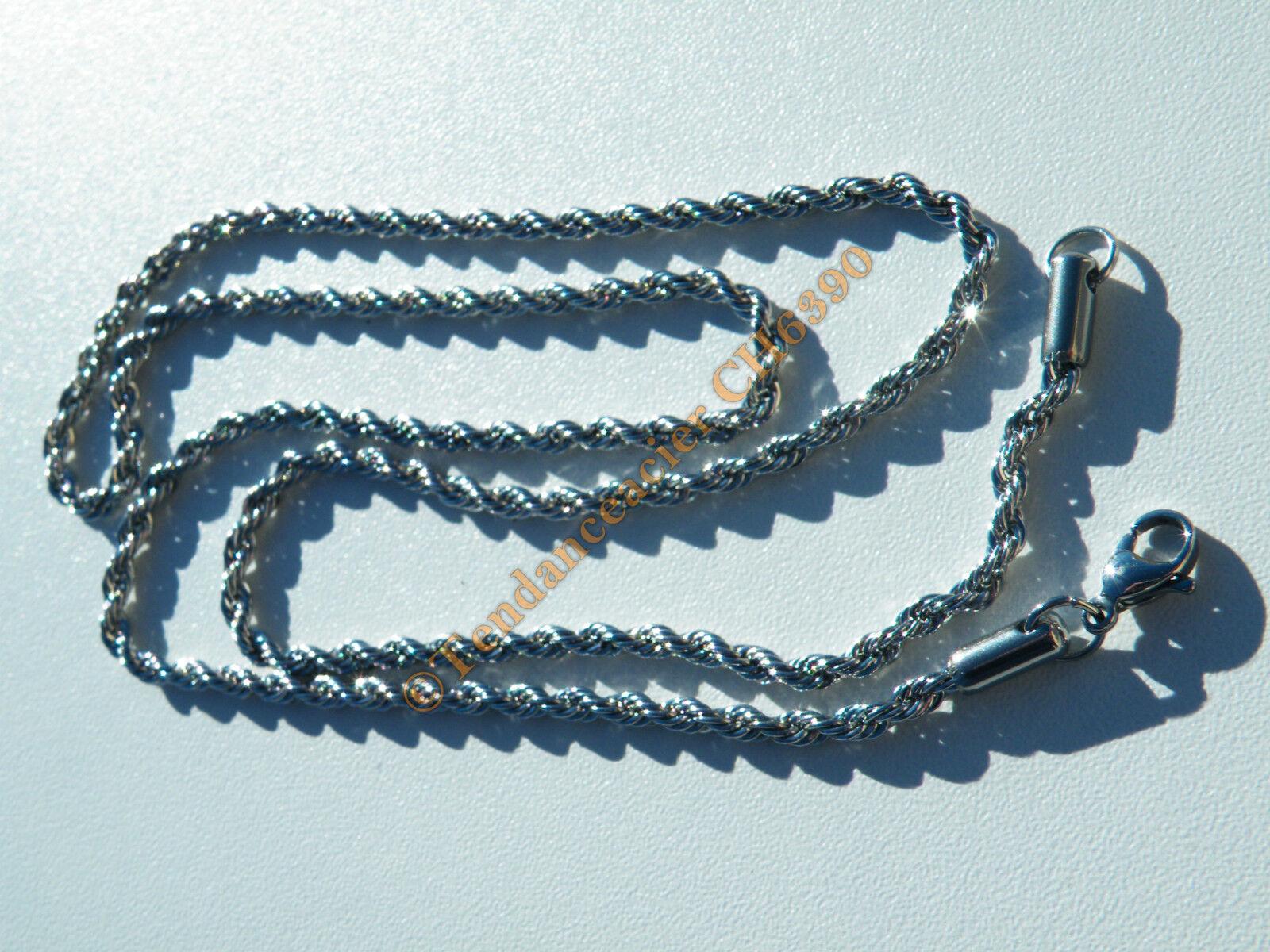 Chaine Longue Collier 60 cm silver Pur Acier Inoxydable Maille Torsadé Wire 3 mm