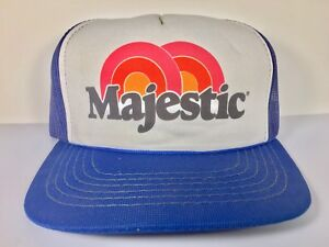 Vintage-Yenkin-Majestic-Paint-Trucker-Hat-Blue-Mesh-Rainbow-Columbus-Ohio