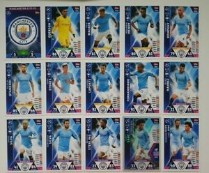 Match-Attax-UEFA-Champions-Soccer-Cards-Manchester-City-Team-Set-inc-shiny