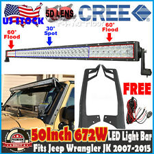 5D 50inch 672W CREE LED Light Bar + Mount Bracket Kit For Jeep Wrangler JK 07-15