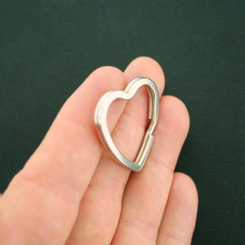 Z429 10 Split Key Rings Unique Heart Shape Silver Tone Iron 31mm x 31mm