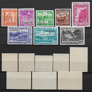 PARAGUAY-Variete-Serie-Complete-Surcharges-034-MUESTRA-034-386-393-SUP-MNH