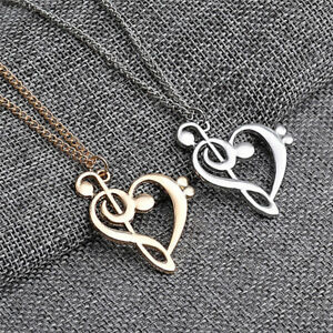 New love heart treble clef music note elegant silver plated pendant image is loading new love heart treble clef music note elegant aloadofball Image collections