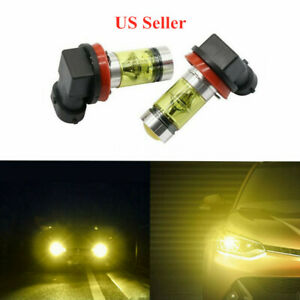 Yellow 2 Pieces H11 100W Auto Fog Driving Light LED Bulbs High Power