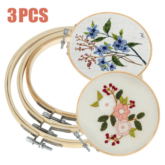 10 Pieces Embroidery Hoops Set Bamboo Circle Cross Stitch Hoop Ring 8 inch for Large Embroidery and Cross Stitch