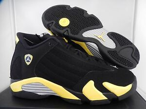 NIKE AIR JORDAN 14 RETRO BG BLACK-YELLOW-WHITE SZ 4Y-WOMENS SZ 5.5 [487524-070]