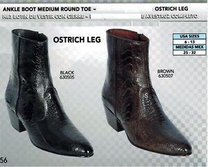 631f6e3d4b1 Details about Los Altos Men's Medium Round Toe Genuine Ostrich Leg Ankle  Boots