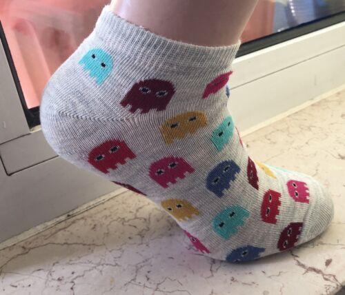 36-40 Damen Socken Sneaker Sportsocken mit Pac Man Socken  Gr
