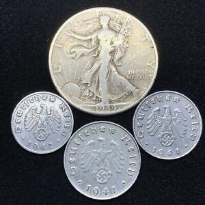 Nazi-Coin-Lot-3-WW2-Germany-Zinc-Coins-and-1-Silver-Walking-Liberty-Half-Dollar