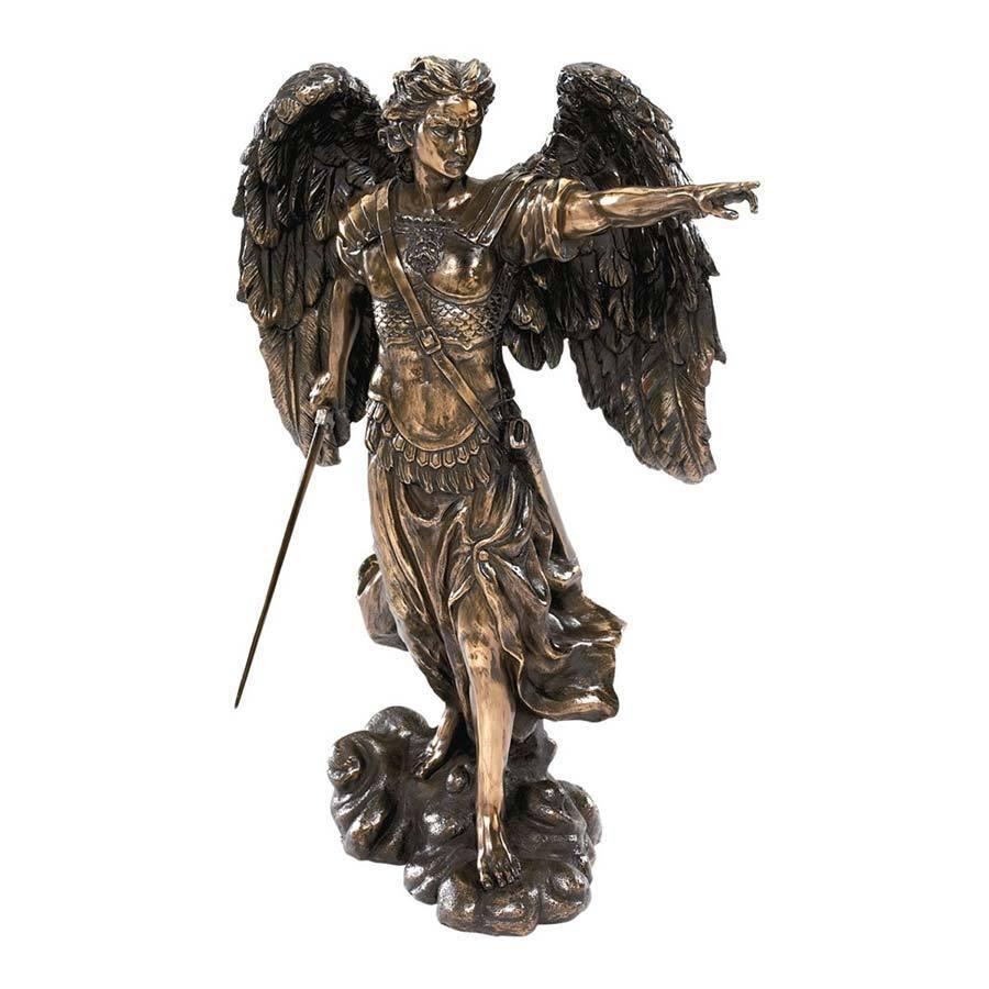 The Archangel Uriel Sculpture Cold Cast Bronze Light of God Angel Statue Healer