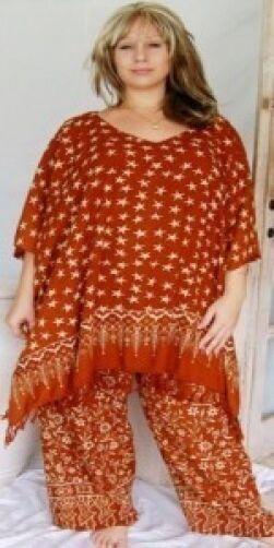 Brown tunic top pants wide leg batik M L XL 1X ZI819