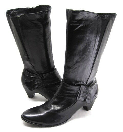 EVERYBODY femmes TAMARA MID-CALF FASHION démarrage noir LEATHER RUBBER SOLE SZ 6 M