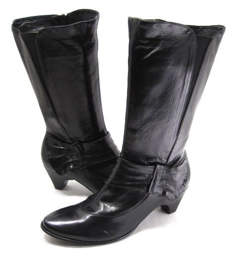 EVERYBODY femmes TAMARA MID-CALF FASHION démarrage noir LEATHER RUBBER SOLE SZ 6 M