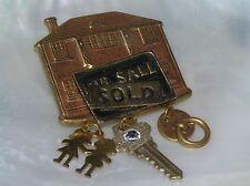 Estate For Sale SOLD Goldtone House w Key DoorKnocker Charm Dangles Pin Brooch