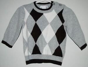 b67cbefdb H M Baby Boy s Argyle Holiday Sweater Size 6-9 Months Gray White ...
