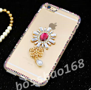 Glitter-Luxury-Bling-red-flower-tassel-Diamond-Soft-TPU-Case-Cover-for-Apple