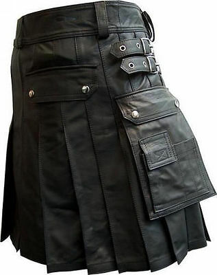 Mens 100% Cow Leather Pleated Kilt/LARP with Two Side Cargo Pockets Custom Sizes