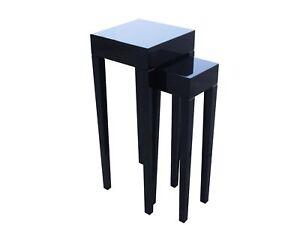 Mesa-Auxiliar-Set-Negro-Laca-de-Piano-Alto-Brillo-lacktisch-Telefono-CONSOLA