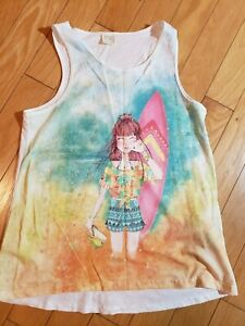 New-girls-ZARA-white-tank-top-with-Girl-surf-applique-size-13-14