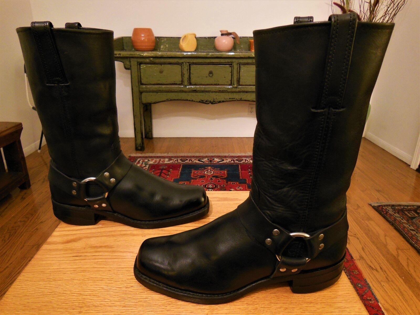 Vtg  FRYE Men's Black Leather 12R Harness Urban Hipster Boots   9.5M  USA XLNT!